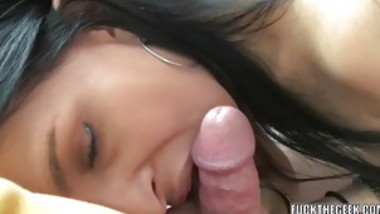 Brunette Girl Sucks Cock And Gets A Facial