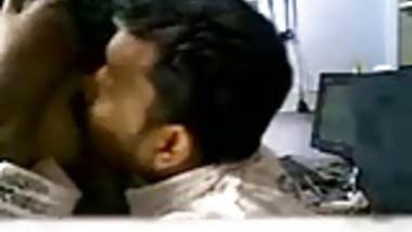 Indian shop owner sucks his staff big tits