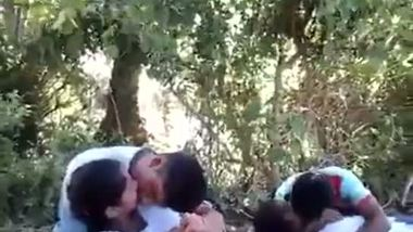 Indian school girls outdoor romance
