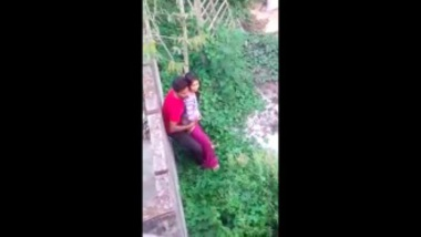 Young desi couple having a secret sex at park